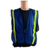 Soft Mesh Royal Blue Vests with Lime Stripes - Front View