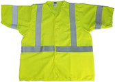 Radians Arc Flame Resistant Lime Sleeved, Class 3 Vests - Silver Stripes ~ Front View