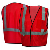 Pyramex NON-ANSI Mesh Safety Vests w/ Silver Stripes - Red