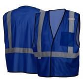 Pyramex NON-ANSI Mesh Safety Vests w/ Silver Stripes - Blue