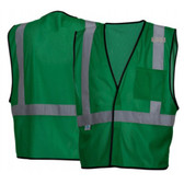 Pyramex NON-ANSI Mesh Safety Vests w/ Silver Stripes - Green