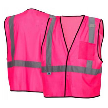 Pyramex NON-ANSI Mesh Safety Vests w/ Silver Stripes - Pink