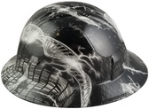 Einstein Was Here Design Full Brim Hydro Dipped Hard Hats - Left Side View