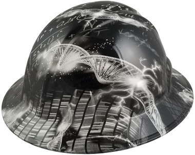 Einstein Was Here Design Full Brim Hydro Dipped Hard Hats - Oblique View