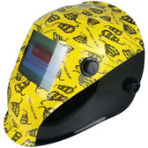 Hydro Dipped Auto Darkening Welding Helmet – Don't Tread On Me Yellow Design ~ Left Side Oblique View
