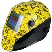 Hydro Dipped Auto Darkening Welding Helmet – Don't Tread On Me Yellow Design ~ Left Side Oblique View