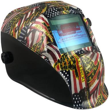 Hydro Dipped Auto Darkening Welding Helmet – USA Flag Design ~ Oblique View