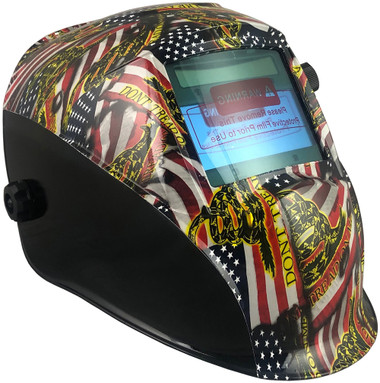 Hydro Dipped Auto Darkening Welding Helmet – USA Flag Design ~ Oblique View