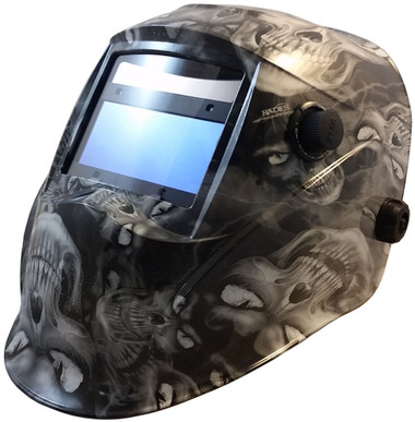 Hydro Dipped Auto Darkening Welding Helmet – Hades White Design ~ Oblique View