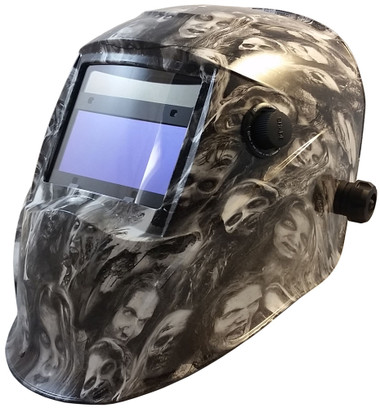 Hydro Dipped Auto Darkening Welding Helmet – Real Zombie White  ~ Oblique View