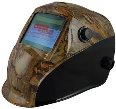Hydro Dipped Auto Darkening Welding Helmet – Confederate Camo Design ~ Left Oblique  View