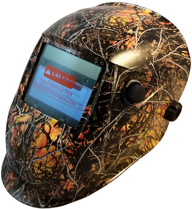Hydro Dipped Auto Darkening Welding Helmet – Wildfire Design ~ Oblique View
