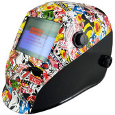 Hydro Dipped Auto Darkening Welding Helmet – Sticker Bomb Design ~ Left Oblique  View
