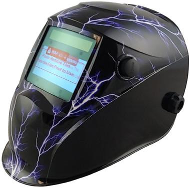 Hydro Dipped Auto Darkening Welding Helmet – Lightning Storm Design ~ Left  Side Oblique View