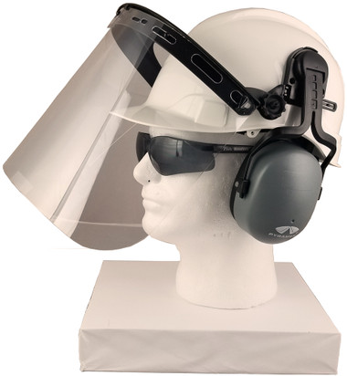 Pyramex Ridgeline Style hard hat with Clear Faceshield, Hard Hat Attachment, and Earmuff - side half way