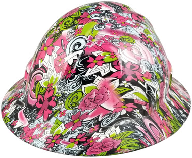 Maui Vacation Design Full Brim Hydro Dipped Hard Hats ~ Oblique View