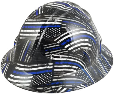 Blue Lives Matter Design Full Brim Hydro Dipped Hard Hat ~ Oblique View