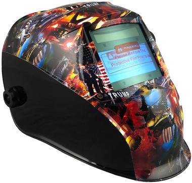 Hydro Dipped Auto Darkening Welding Helmet – Trump All Stars ~ Oblique View