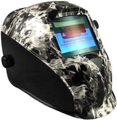 Hydro Dipped Auto Darkening Welding Helmet – White Smoke Design ~ Oblique View