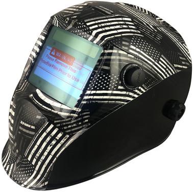 Hydro Dipped Auto Darkening Welding Helmet – Black and White Flag Design ~ Left Oblique View