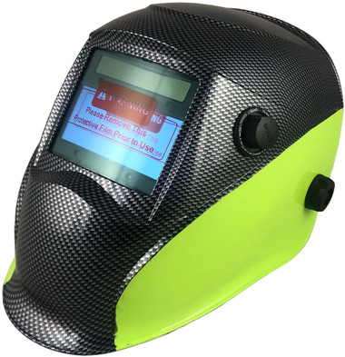 Hydro Dipped Auto Darkening Welding Helmet – 50/50 Carbon Fiber/Lime Design ~ Left Side Oblique View