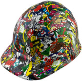 Sticker Bomb 5 Design Cap Style Hydro Dipped Hard Hats - Oblique View