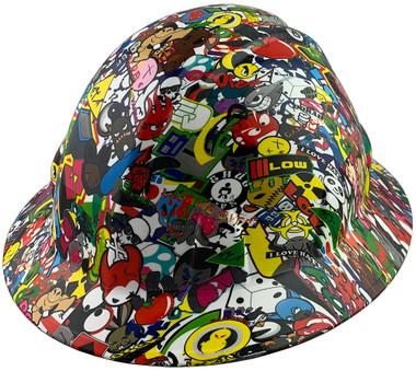 Sticker Bomb 5 Design Full Brim Hydro Dipped Hard Hats - Oblique View