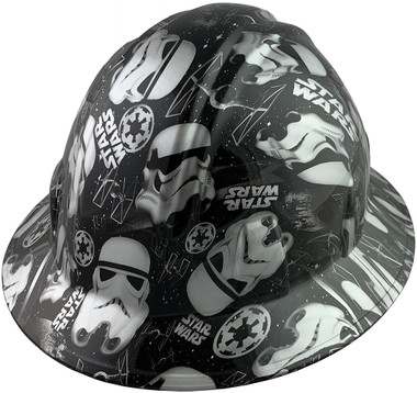 Star Wars Stormtrooper Design Full Brim Hydro Dipped Hard Hats - Oblique View