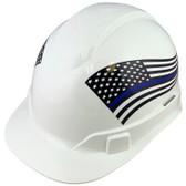 Pyramex Ridgeline Cap Style Hard Hats - Blue Lives Matter Flag ~ Profile
