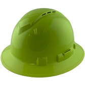 Pyramex Ridgeline Vented Lime Full Brim Style Hard Hat - 4 Point Suspensions