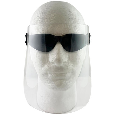 ERB Clip-On Disposable Face Shield with Fog Free Gateway Starlite Safety Glasses w/ Smoke Lens (KIT-4160-4678)