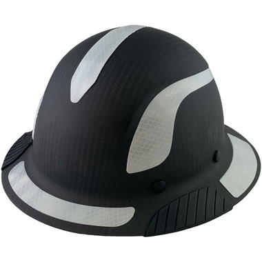 Actual Carbon Fiber Hard Hat - Full Brim Matte Black with Reflective Decal Kit Applied