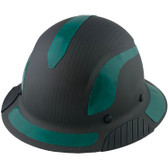 Actual Carbon Fiber Hard Hat - Full Brim Matte Black with Reflective Green Decal Kit Applied