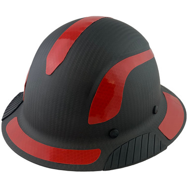 Actual Carbon Fiber Hard Hat - Full Brim Matte Black with Reflective Red Decal Kit Applied