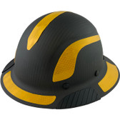 Actual Carbon Fiber Hard Hat - Full Brim Matte Black with Reflective Yellow Decal Kit Applied