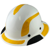DAX Fiberglass Composite Hard Hat - Full Brim White with Reflective Yellow Decal Kit Applied
