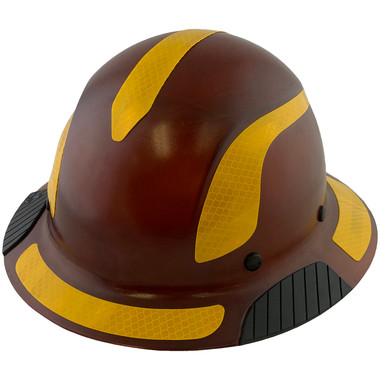 DAX Fiberglass Composite Hard Hat - Full Brim Natural Tan with Reflective Yellow Decal Kit Applied