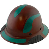 DAX Fiberglass Composite Hard Hat - Full Brim Natural Tan with Reflective Green Decal Kit Applied