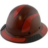 DAX Fiberglass Composite Hard Hat - Full Brim Natural Tan with Reflective Red Decal Kit Applied