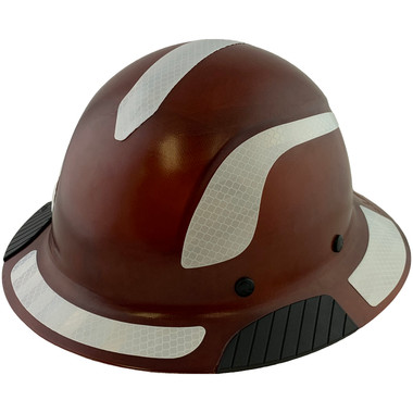 DAX Fiberglass Composite Hard Hat - Full Brim Natural Tan with Reflective White Decal Kit Applied