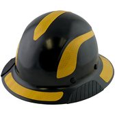 DAX Fiberglass Composite Hard Hat - Full Brim Black with Reflective Yellow Decal Kit Applied
