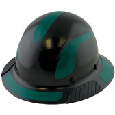 DAX Fiberglass Composite Hard Hat - Full Brim Black with Reflective Green Decal Kit Applied