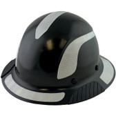 DAX Fiberglass Composite Hard Hat - Full Brim Black with Reflective White Decal Kit Applied