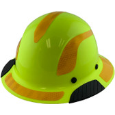 DAX Fiberglass Composite Hard Hat - Full Brim High-Viz Lime with Reflective Yellow Decal Kit Applied