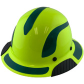 DAX Fiberglass Composite Hard Hat - Full Brim High-Viz Lime with Reflective Green Decal Kit Applied