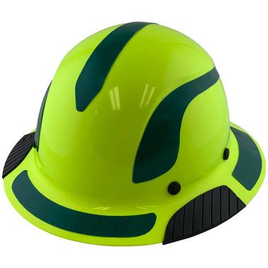 DAX Fiberglass Composite Hard Hat - Full Brim High-Viz Lime with Reflective Green Decal Kit Applied
