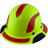 DAX Fiberglass Composite Hard Hat - Full Brim High-Viz Lime with Reflective Red Decal Kit Applied