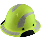 DAX Fiberglass Composite Hard Hat - Full Brim High-Viz Lime with Reflective White Decal Kit Applied