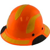 DAX Fiberglass Composite Hard Hat - Full Brim High-Viz Orange with Reflective Yellow Decal Kit Applied