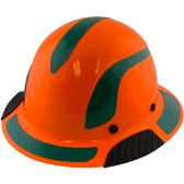 DAX Fiberglass Composite Hard Hat - Full Brim High-Viz Orange with Reflective Green Decal Kit Applied